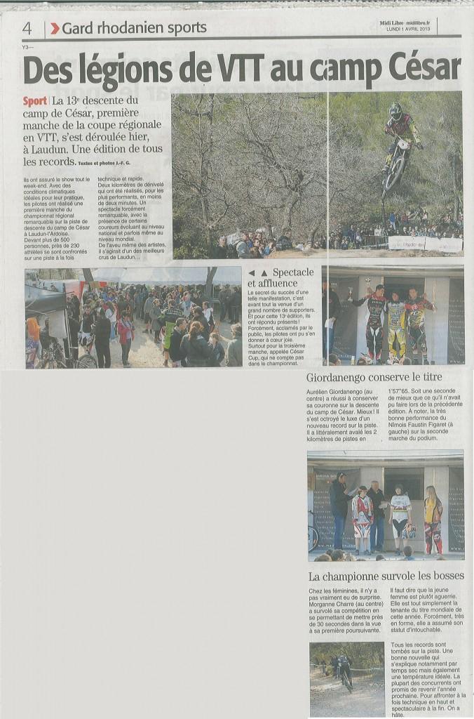 Midi libre Lundi 1 Avril 2013